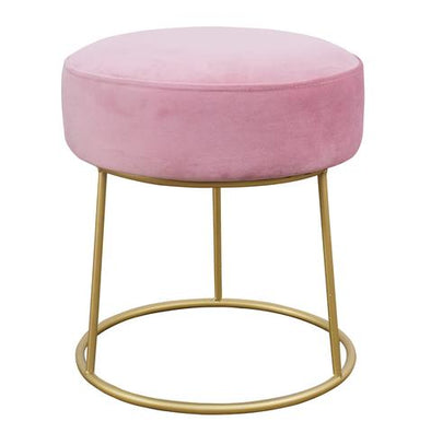 Blush & Gold Velvet Stool
