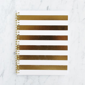 Sugar Paper Gold Cabana Stripe Notebook
