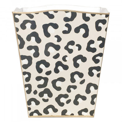 White Leopard Handpainted Wastebasket