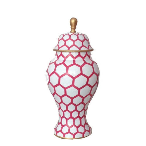Pink Mesh Painted Ginger Jar 12""