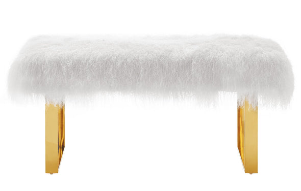 Sheepskin Bench with Gold Legs