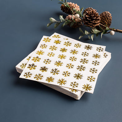 Gold Snowflake Cocktail Napkins