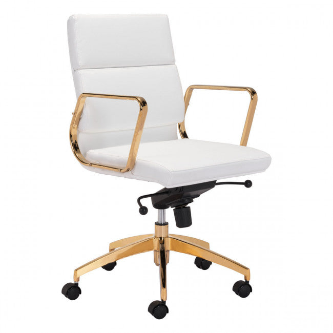 Rachel George White Gold Office Chair