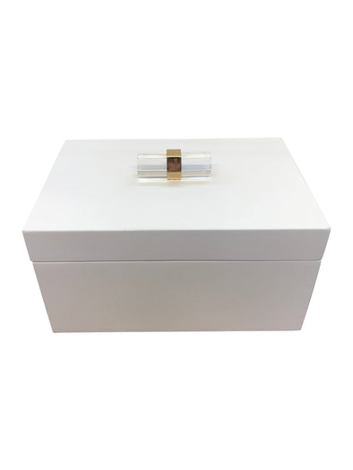 White Lacquer Crystal Jewelry Box