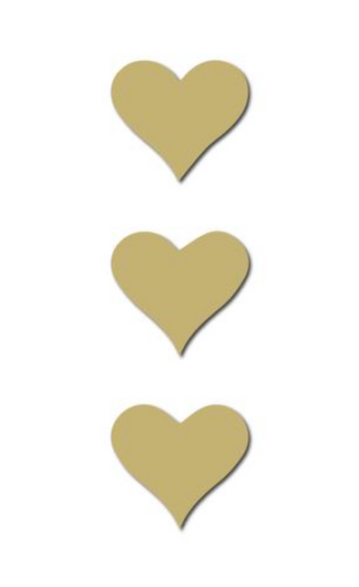 S/3 Gold Heart Wooden Magnets