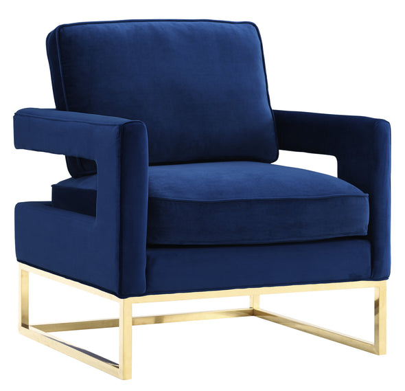 Navy Blue Velvet & Gold Chair