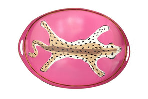 Oval Leopard Pink Tray