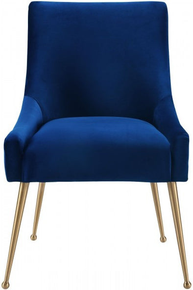 Gold Bar Navy Velvet Chair