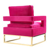 Vibrant Pink Velvet & Gold Chair
