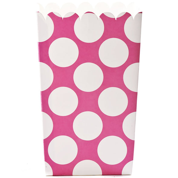 Simply Baked Large Hot Pink Polka Dot Popcorn Boxes s/6