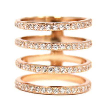 Melanie Auld CZ Pave 4 Tier Rose Gold Ring