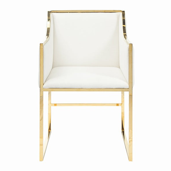 Worlds-Away Anabelle White Gold Brass Chair
