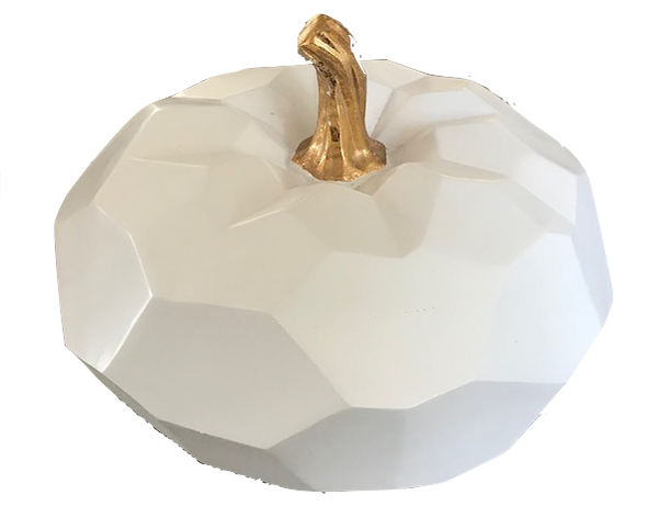 White & Gold Faceted Pumpkin