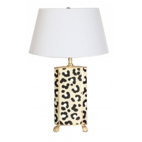 White Leopard Handpainted Lamp