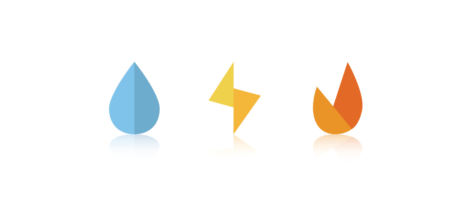 EKM Icons Water Electricity Gas with reflections