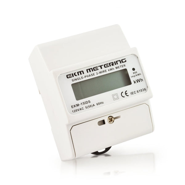 120 Volt Pass-Through kWh Meter, 2-Wire (1 hot, 1 neutral), 50A, 60Hz, EKM-15IDS - EKM Metering Inc.