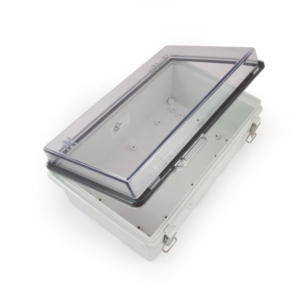 "Watertight Enclosure with Hinged and Latching Lid - UL Listed - 6.7"" x 10.63"" x 4.33"" - EKM Metering Inc."