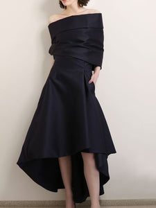 A-Line Asymmetric Elegant Maxi Dress and Plus Size available