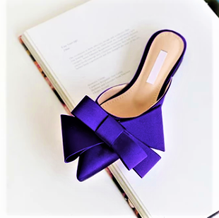 Silk Satin Pointed toe bow slippers..