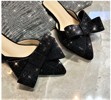 Load image into Gallery viewer, Stardust Rhinestone Pointed Toe Bow  Slippers ( Black or Champagne)