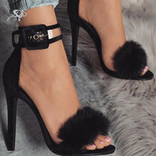 Load image into Gallery viewer, High Heel Sandals  Fur Ankle Strap