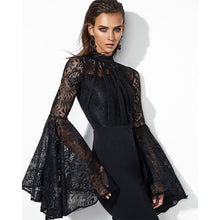 Load image into Gallery viewer, Black Pleated  Flare Sleeve Jewel-Neck  Lace Dress