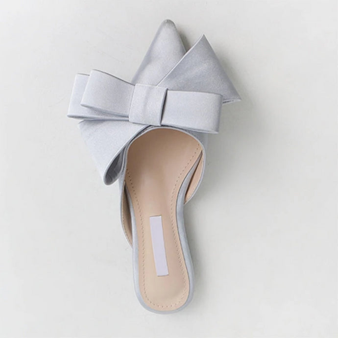 Silk Satin Pointed toe bow slipper...