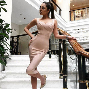 Sleeveless Bodice Strap Bandage Dress