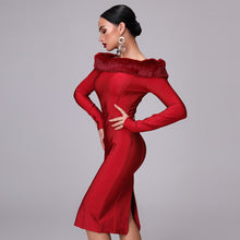 Load image into Gallery viewer, Off The Shoulder Bandage Dress With Fur Collar