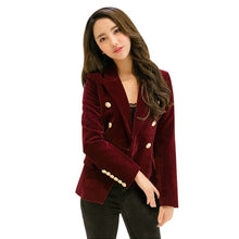 Load image into Gallery viewer, Double Breasted Velvet Blazer