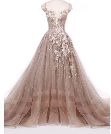 Couture Rose Champagne Beaded Appliques  Evening Dress