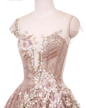 Load image into Gallery viewer, Couture Rose Champagne Beaded Appliques  Evening Dress