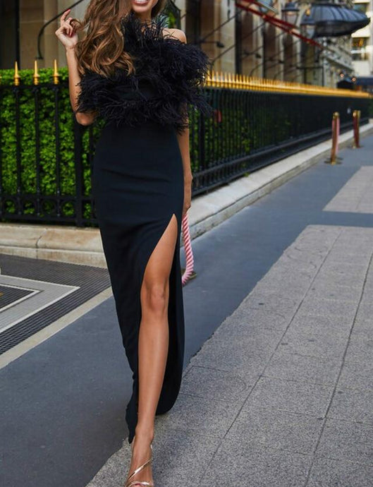 Long Party  Dress With Feathers..