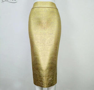Knee-length Elegant Bandage Golden or Silver Pencil Skirt