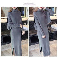 Load image into Gallery viewer, Cotton 2 Piece Knit Dolman Mock Neck Top and Jewel Neck Dress