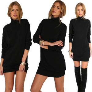 High Collar Sexy Black  Knitted Sweater Dress