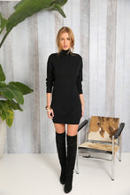 Load image into Gallery viewer, High Collar Sexy Black  Knitted Sweater Dress