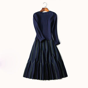 Long Sleeve Knit Dress in Navy Couture Detail