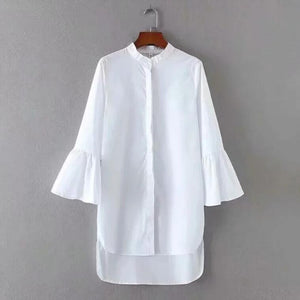 Flare Sleeve White Shirt Dress Irregular Hem..