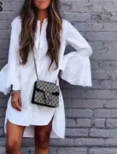 Load image into Gallery viewer, Flare Sleeve White Shirt Dress Irregular Hem..