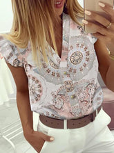 Load image into Gallery viewer, Stylish Fashion Blouse  V-Neck Print with Ruffles