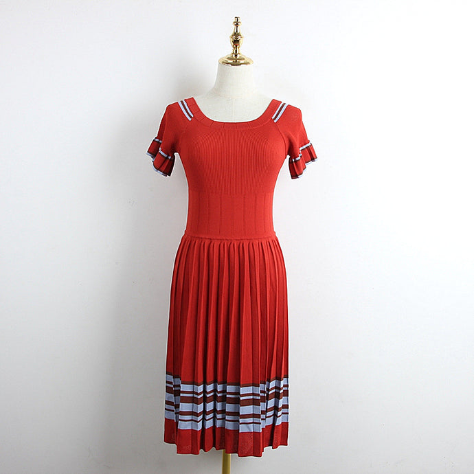 Elegant Pleated Knitted Dress Ruffle Sleeve