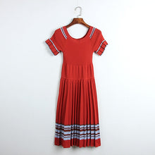 Load image into Gallery viewer, Elegant Pleated Knitted Dress Ruffle Sleeve