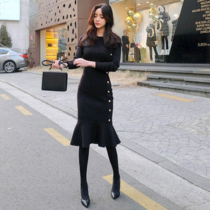 Knitted Black Long Sleeve  Elegant Knee Length Dress