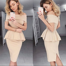 Load image into Gallery viewer, Super Stretch Off Shoulder Peplum Top and Pencil Skirt