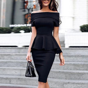 Super Stretch Off Shoulder Peplum Top and Pencil Skirt