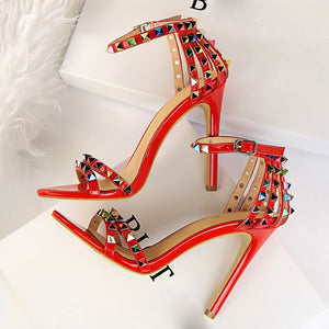 Multi Color Rivets and Studded Sandals Stiletto