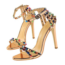 Load image into Gallery viewer, Multi Color Rivets and Studded Sandals Stiletto