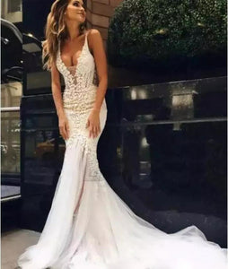 Couture Backless Sheer Deep V Neck Bridal Gown
