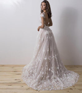 Couture Wedding Dress With Detachable Train 3D Floral